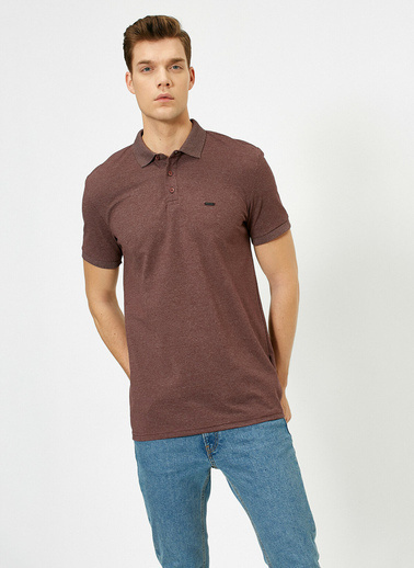 Koton Polo Yaka Metal Logo Detayli Slim Fit T-Shirt Bordo